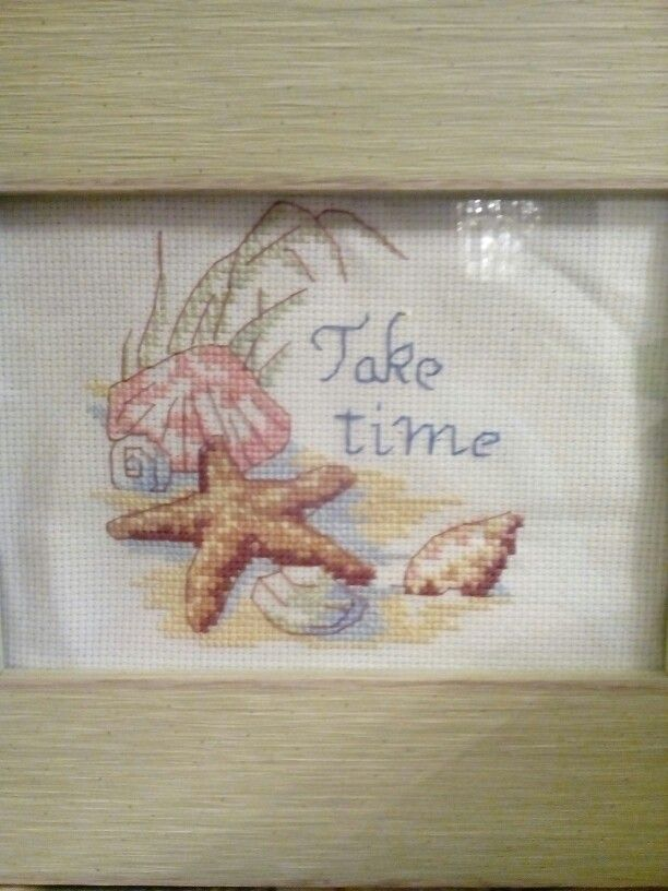 """Hand made cross stitch """" Take Time """" ( Starfish & Sea shells) made with cotton thread, 14 count white Aida. It comes 6 """" plastic hoop or can be frame. Size 6×6 $ 25"""