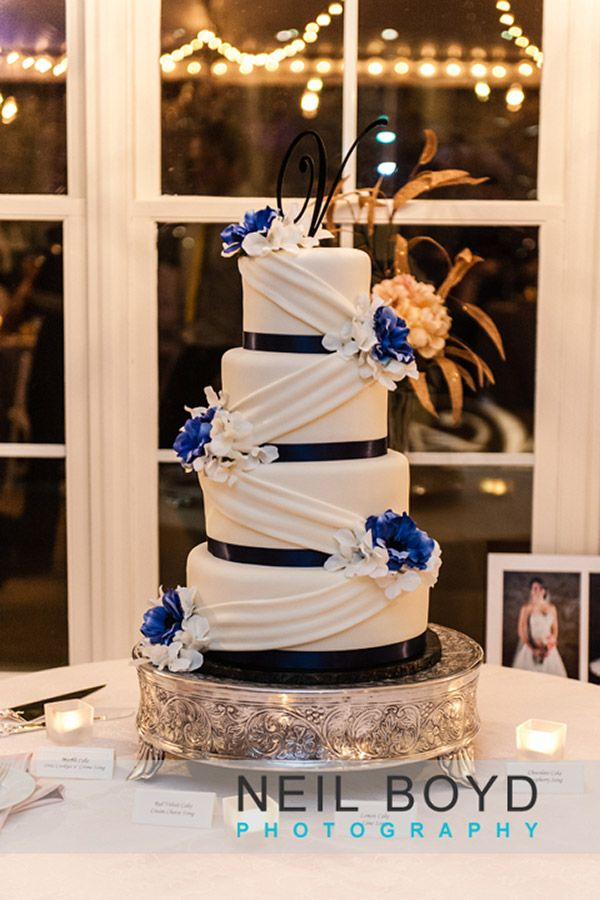 White And Blue Wedding Cake. Party Delights Bakery Raleigh, NC. Neil Boyd  Photography