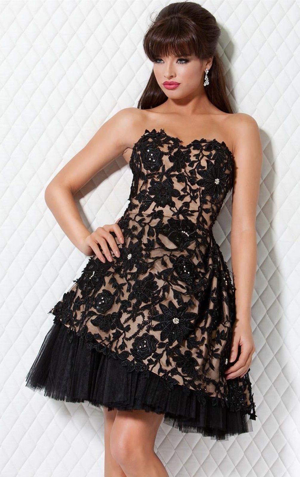 Theperfect aline sleeveless short tulle strapless prom dresses