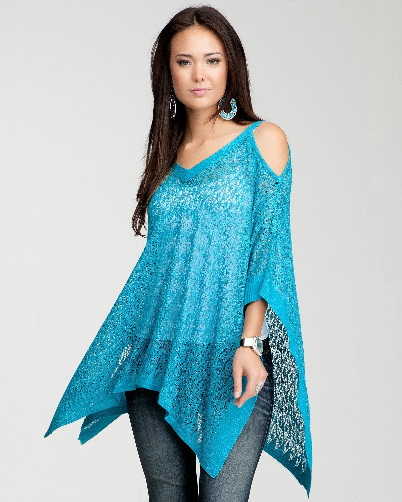 54813f712ba53 10. a chic jacket or cover-up bebe Cold Shoulder Poncho.  bebe and ...