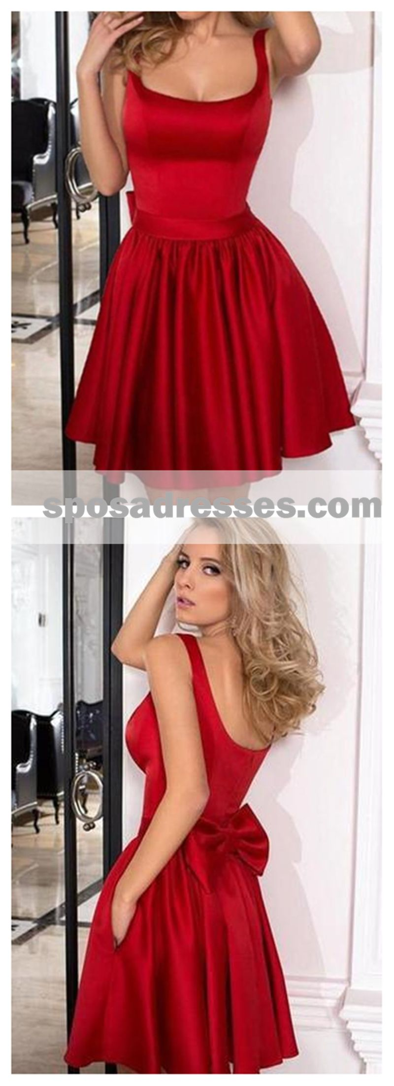 Red straps cheap homecoming dresses under cm