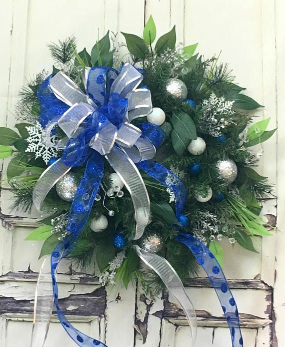 Christmas Wreaths For Sale, Silver Christmas Wreath, Xmas Door - christmas decorations sale