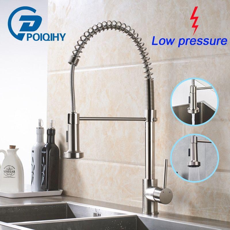 Poiqihy Low Pressure Kitchen Sink Mixer Tap Brushed Nickel Spring