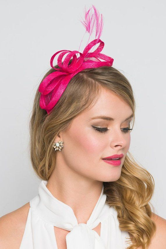Mini Fuchsia Fascinator - Flitter-by Mesh Fuchsia Fascinator Headband