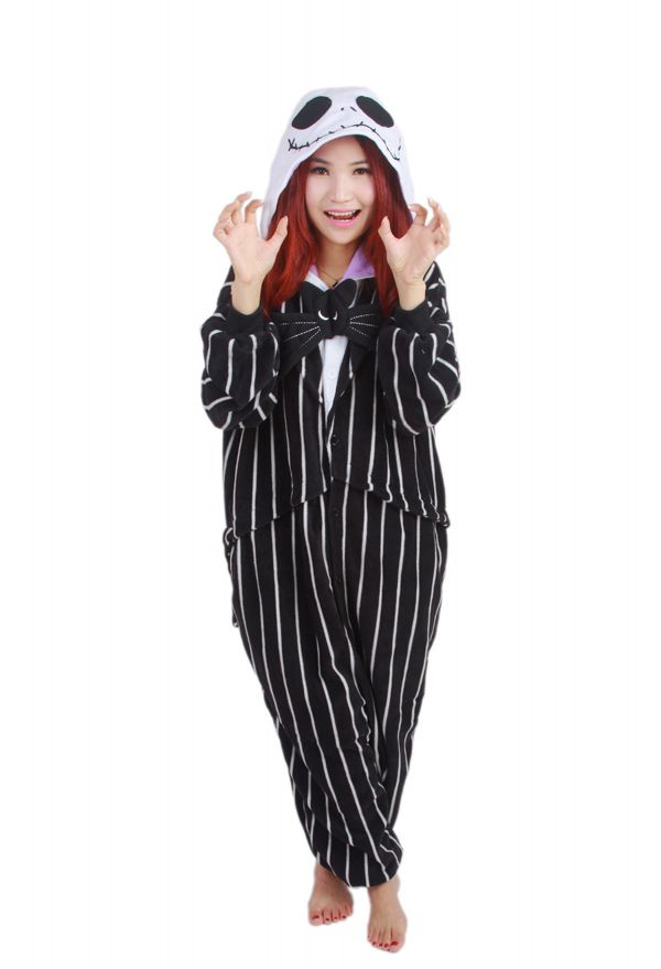 458a5de891 Novelty Cosplay Anime Jack Skellington Skeleton Designer Costume Adult  Unisex Onesie Party Christmas Pajamas Plus Size S- XL  Affiliate
