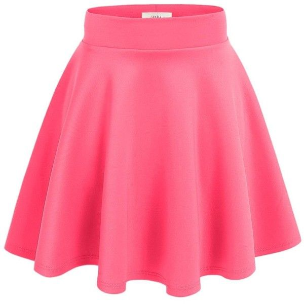 35f8afbda3 Simlu Women's A Line Flared Skater Skirt ($9.15) ❤ liked on Polyvore  featuring skirts, pink flare skirt, knee length flared skirts, flared hem  skirt, ...