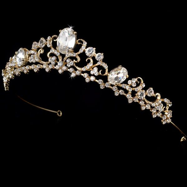 81522e3c4b2970 White and Gold Wedding Crown, Bride Tiara. Simple Gold Plated Tiara ...