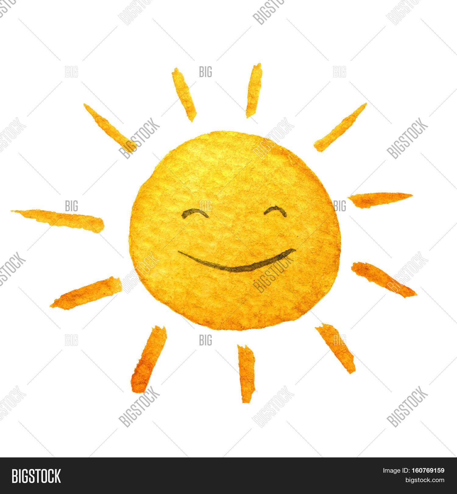 Cute Cartoon Sunshine Hand Drawn Watercolor Illustration Smiling