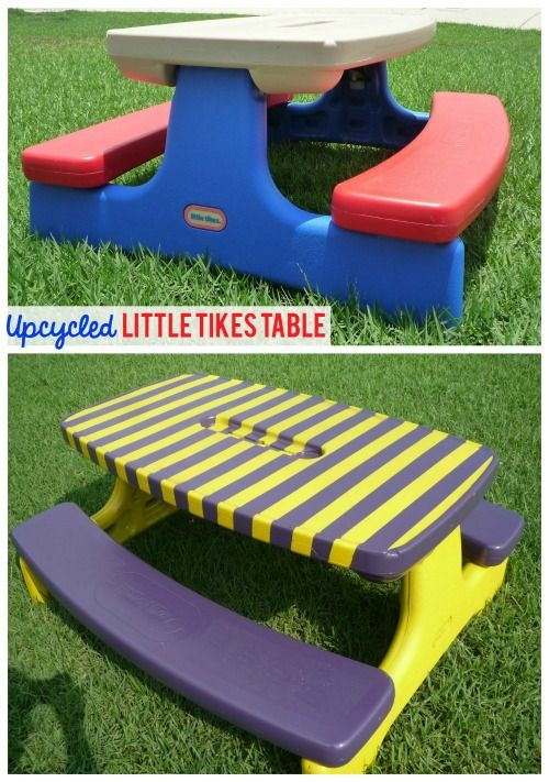 Little tikes and step2 upcycle ideas plastic picnic tables picnic i remember this classic table growing up redo a plastic picnic table with this upcycle watchthetrailerfo