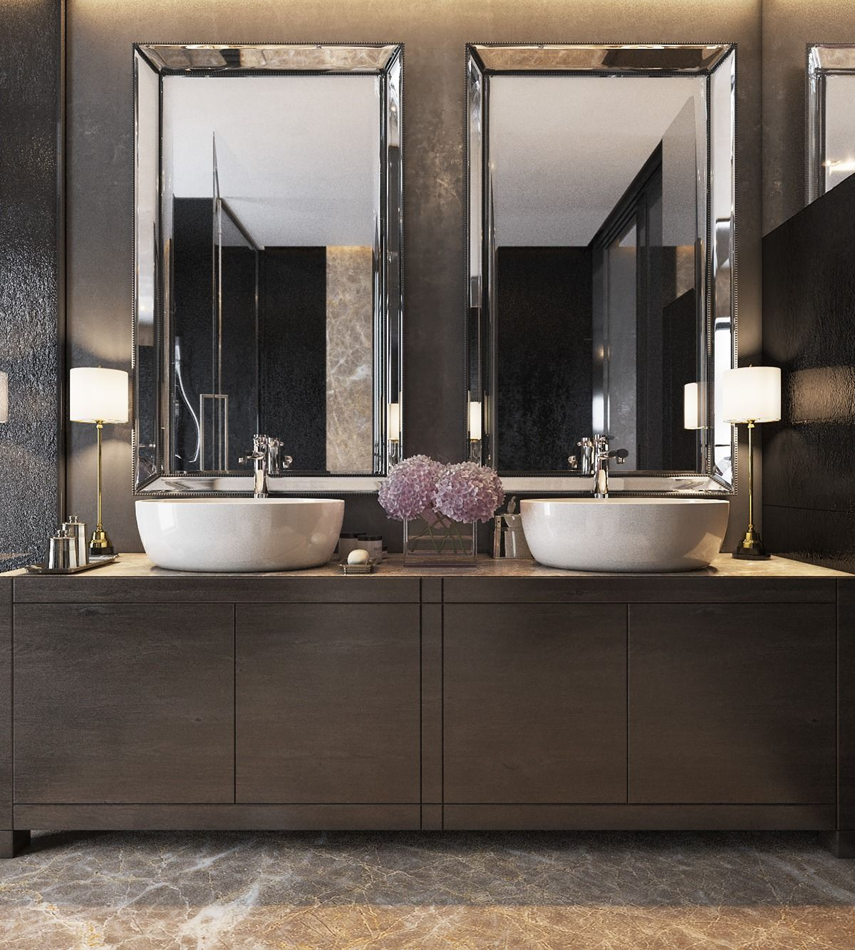 Three Luxurious Apartments With Dark Modern Interiors Bathroom Mirror Design Modern Bathroom Design Elegant Bathroom
