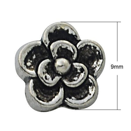 25 Pcs. Euro Style Flower Spacer Beads Antique Silver  . Starting at $4 on Tophatter.com!