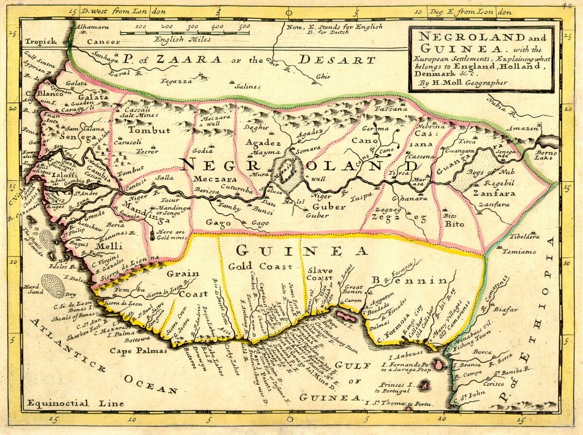Map Of Africa In 1700 1700's Map of West Africa; Negroe Land | Africa map, Map, Tribe of