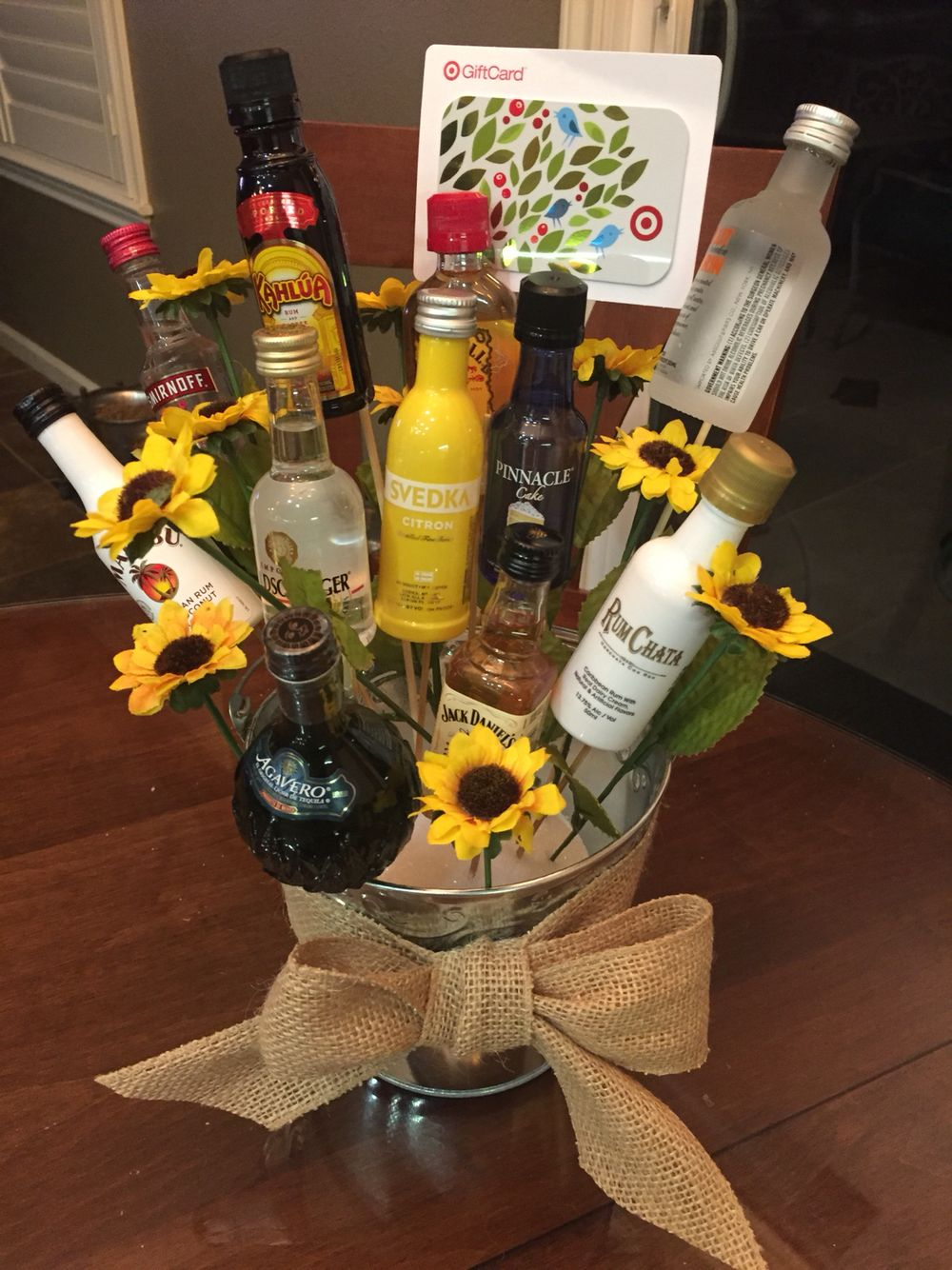 A 21st Birthday Bouquet Created Using Mini Bottles Of Alcohol