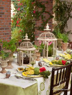 Tablescape Ideas set the table on http://www.cherylstyle. spring tablescape