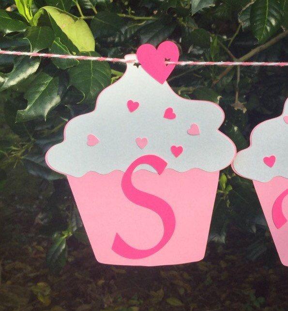 pink cupcake birthday banner 1st birthday smash by 3craftykidz