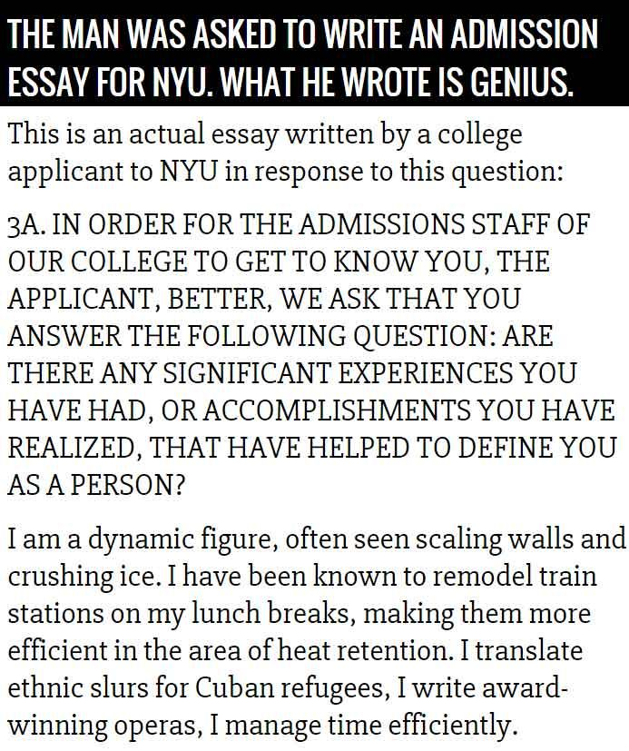 Writing An Essay For College Application Nyu
