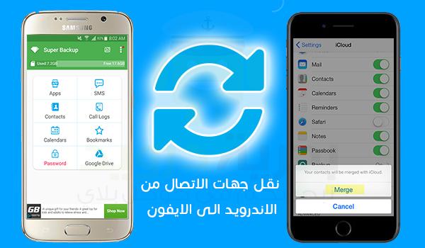 تطبيق Super Backup ل نقل الرسائل النصية من اندرويد الى ايفون Calendar Reminder Icloud Passbook