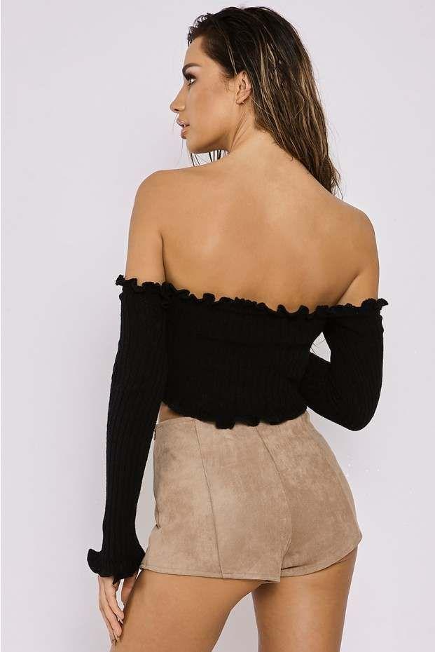 facc72555c802 Sarah ashcroft black ribbed ruffle long sleeved bardot crop top ...
