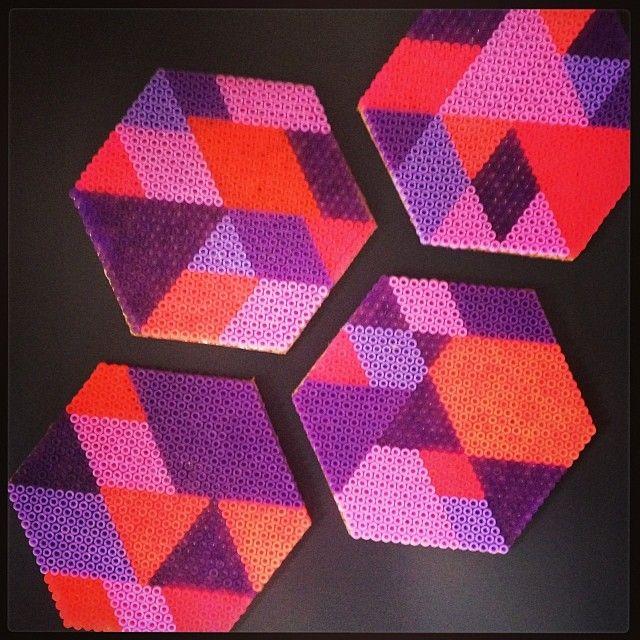 Geometric coasters hama beads by blackchameleons