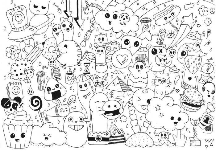 Kawaii Coloring Pages Printable Doodle Coloring Free Doodles Doodle Images