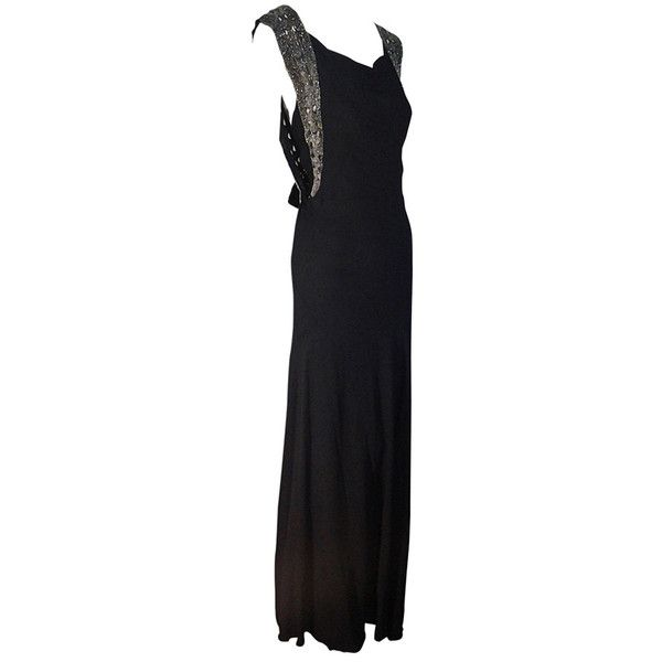 Preowned 1930s Black French Bias Evening Gown With Heavily Beaded ...