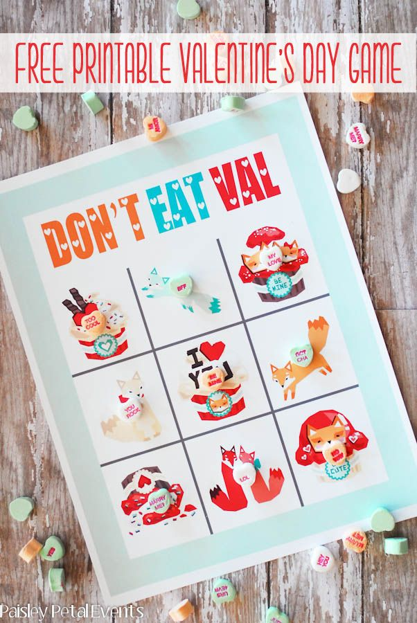valentine party game free printable dont eat pete - Free Valentine Games