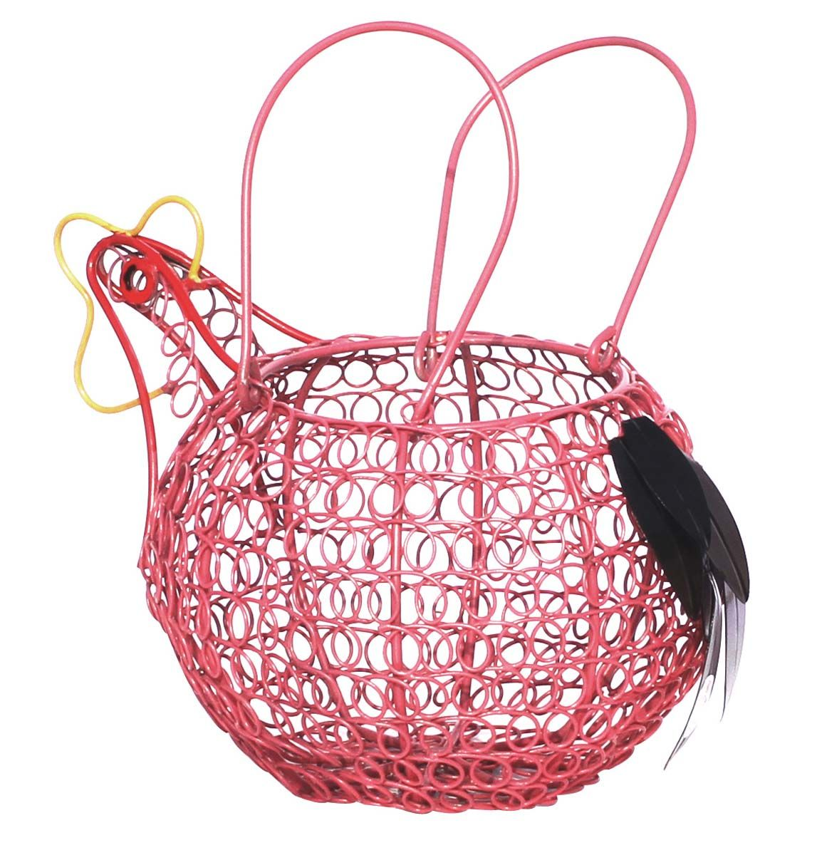 Bulks Wholesale 12 Handmade Hen Design Wire Mesh Planter In Pink Color Decorated With Feathers Planters Garden Accessories Handmade Decorations