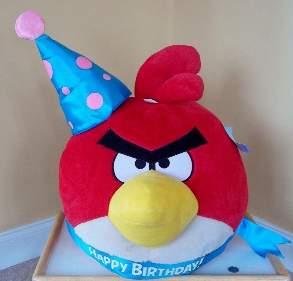 ANGRY BIRDS-ROVIO-RED BIRD w HAPPY BIRTHDAY HAT ea36d527c46d