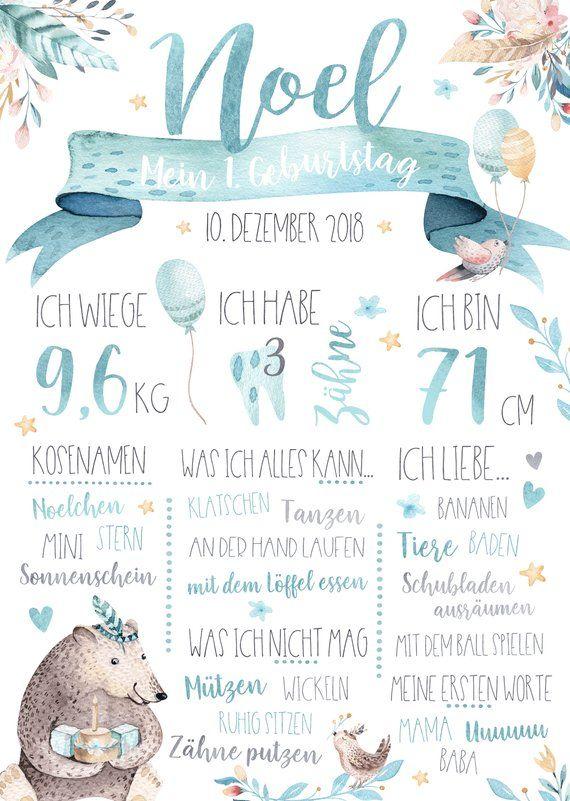 Meilensteintafel 1 Geburtstag Baby Poster Personalisiert Geschenk