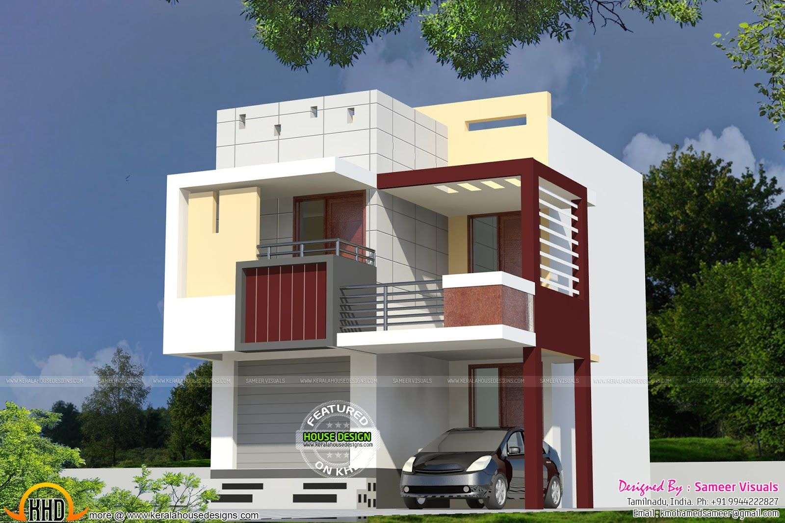 Very small double storied house house elevation indian for Small frontage house designs