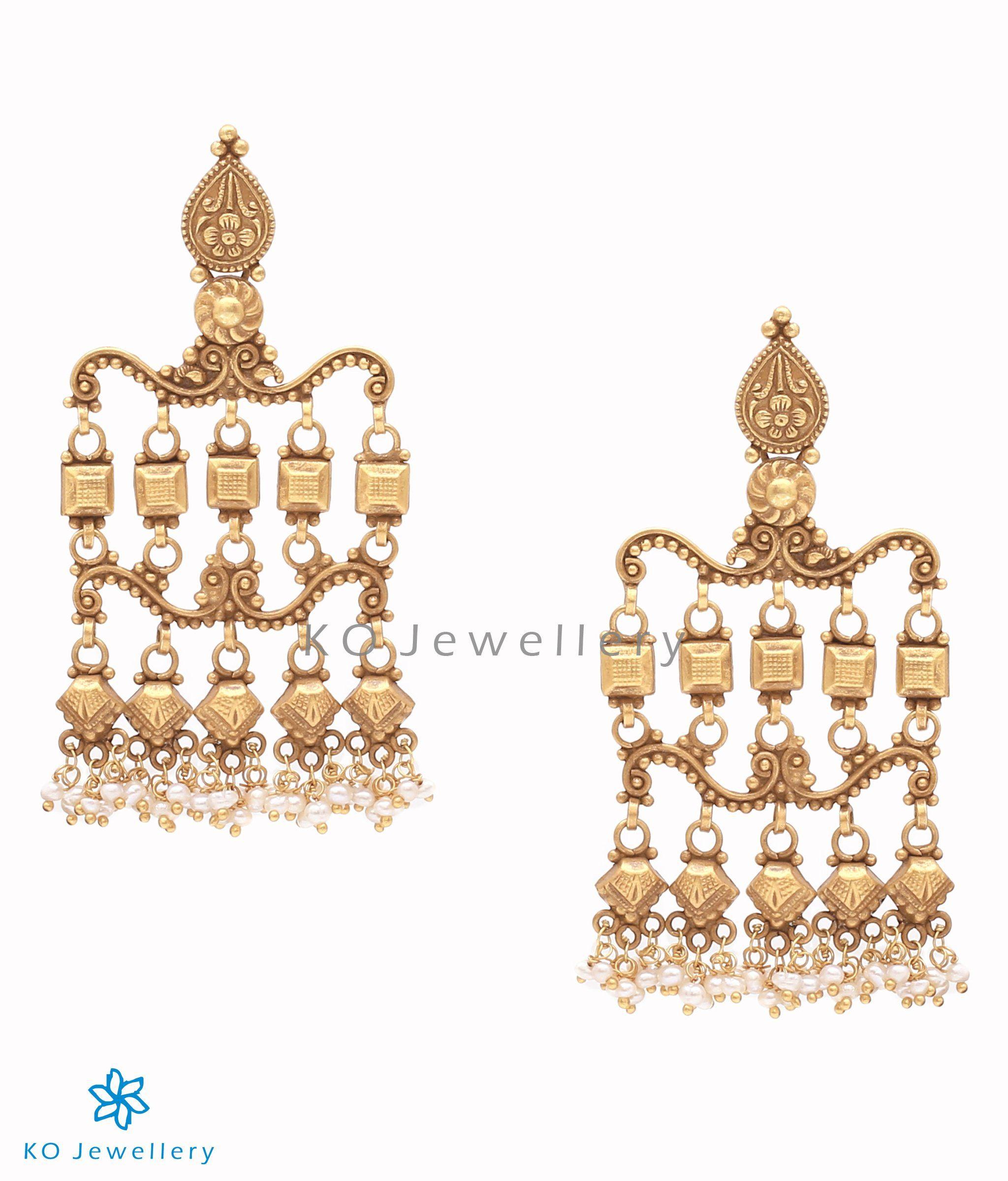 f23e897f6 The Numa Silver Earrings-Buy antique kundan earrings online - KO Jewellery