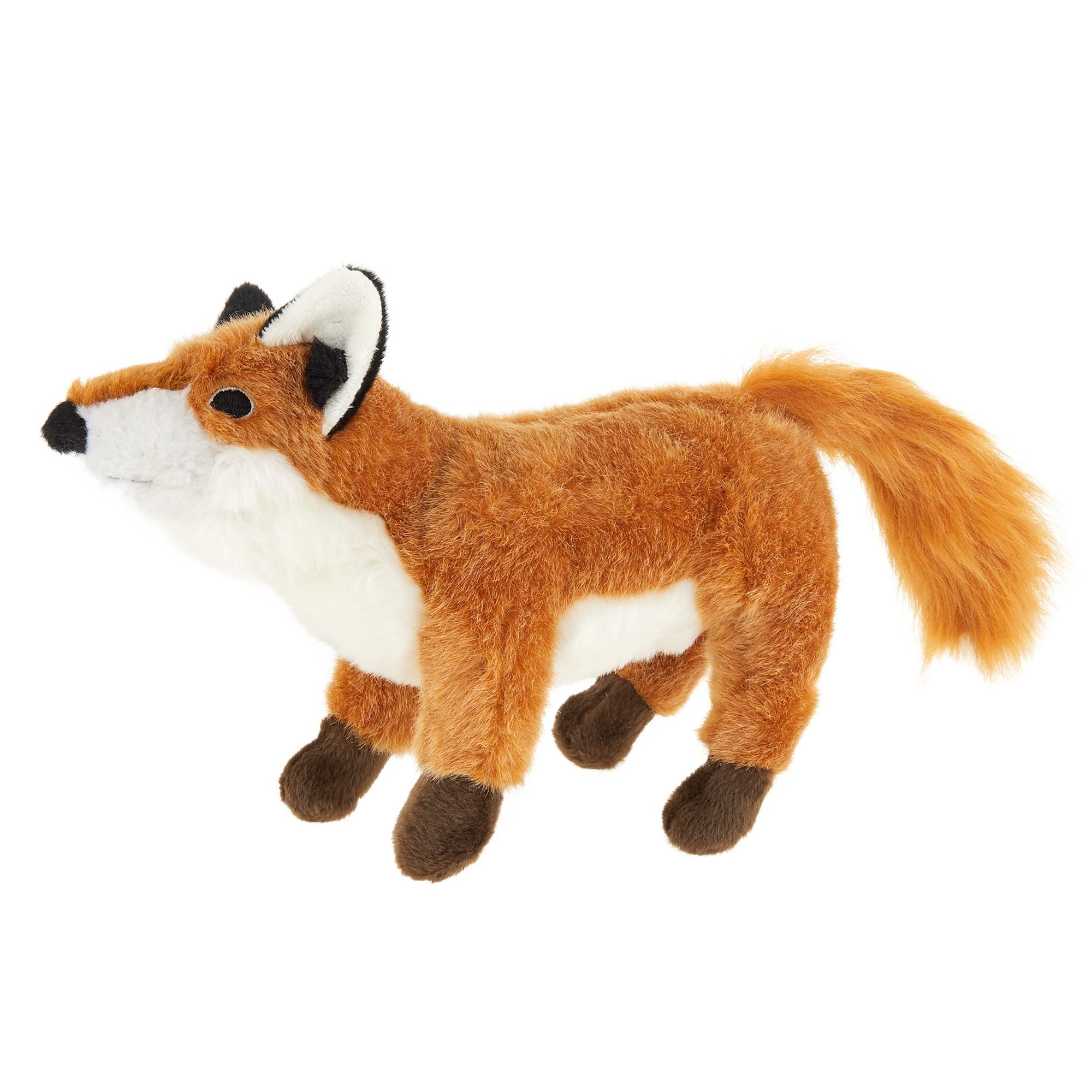 Top Paw Realistic Fox Dog Toy Plush Squeaker Black Brown White