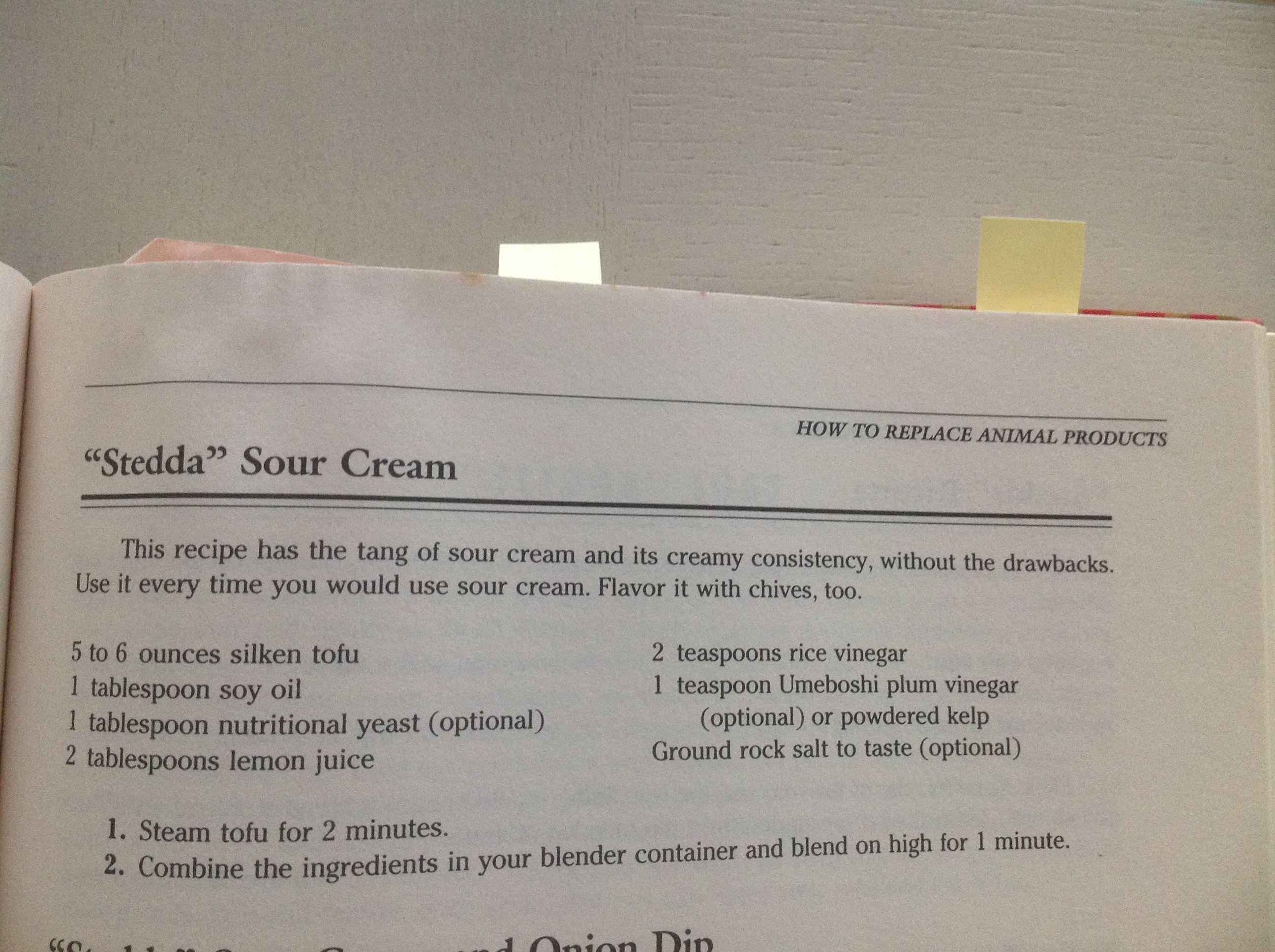 Stedda Sour Cream From American Vegetarian Cookbook By Marilyn Diamond Vegan Sour Cream Vegan Sour Cream Vegetarian Cookbook Sour Cream