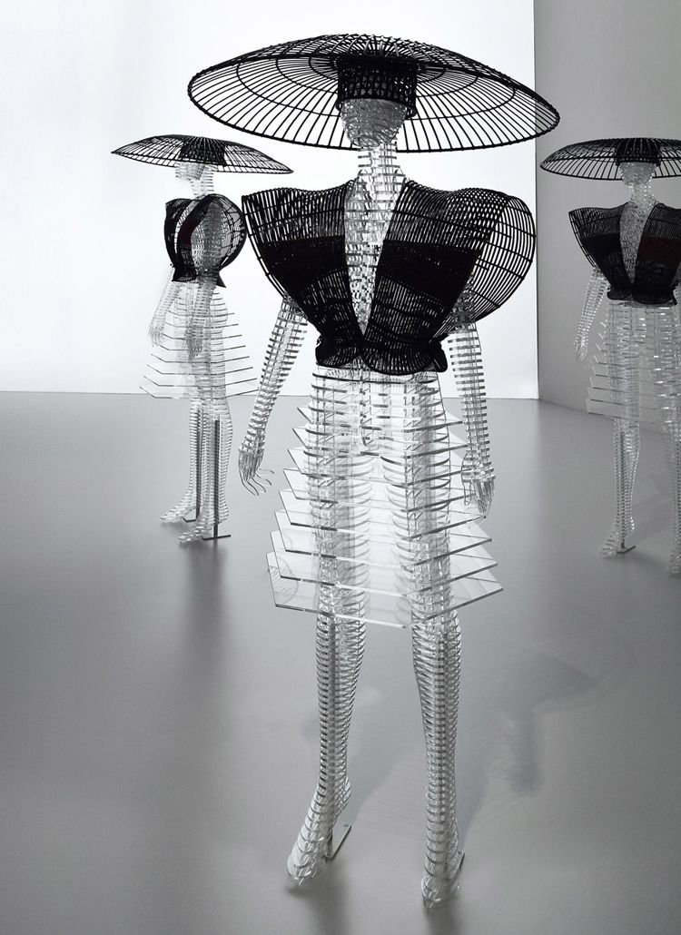 Japanese designer Tokujin Yoshioka has created transparent mannequins as part of a major exhibition of work by fashion designer Issey Miyake which opens - issey miyake