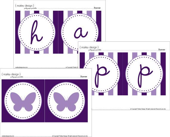 purple butterfly party happy birthday banner printable instant