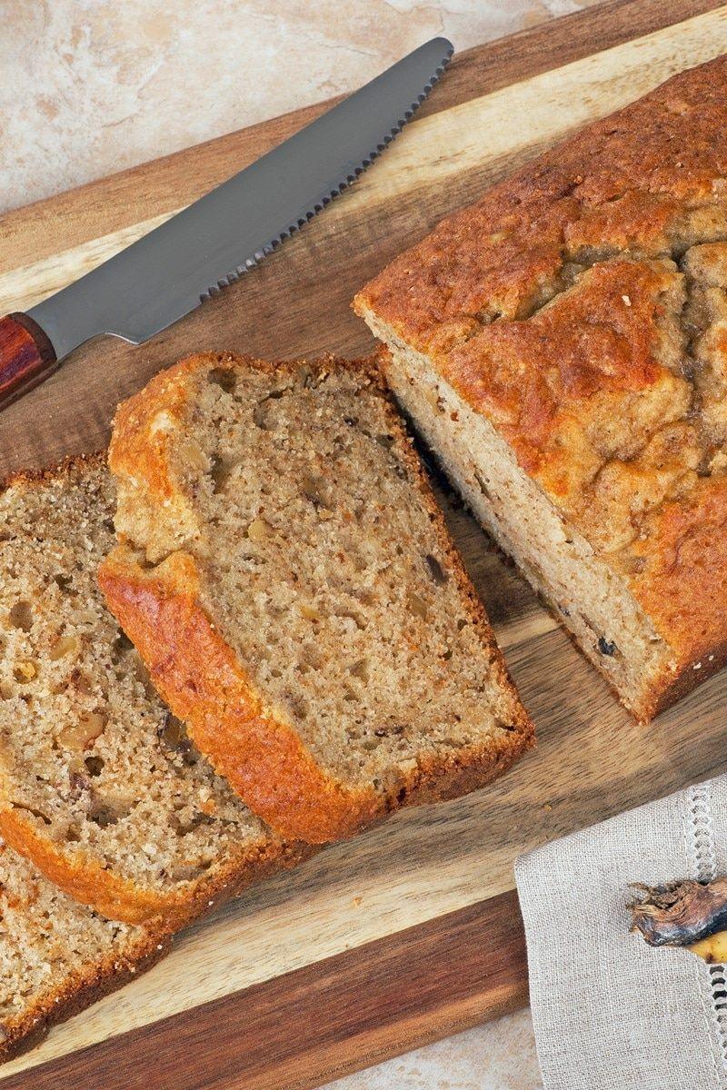 Banana sour cream bread breakfast or dessert recipe with