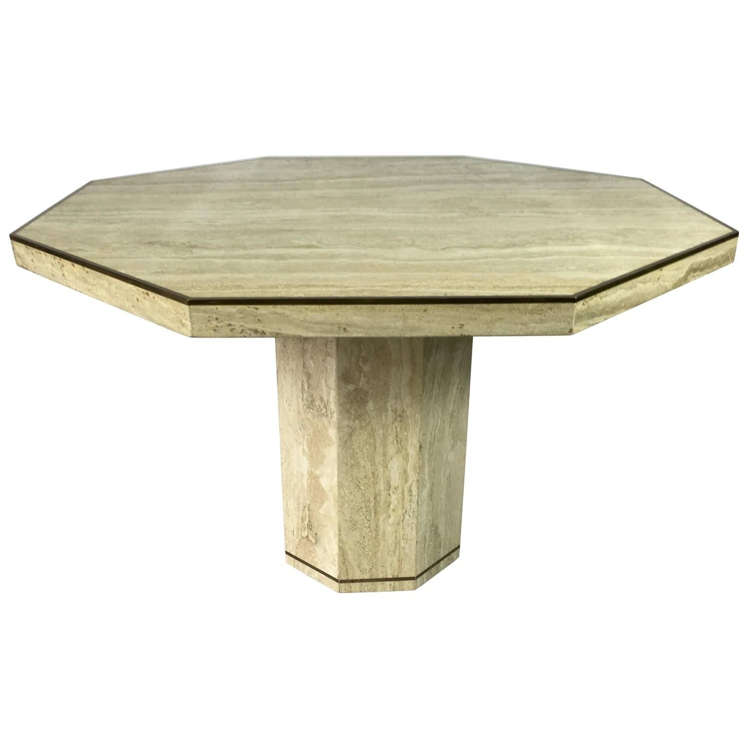Travertine Marble Octagonal Center Or Dining Table With Brass