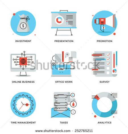 Thin Line Icons Of Corporate Accounting Financial Statistics