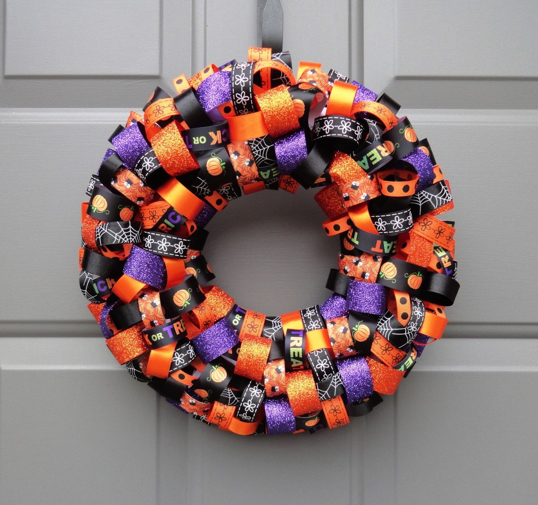 Halloween Ribbon 12' Wreath by KristinCraftsALot on Etsy https://www.etsy.com/listing/199225667/halloween-ribbon-12-wreath