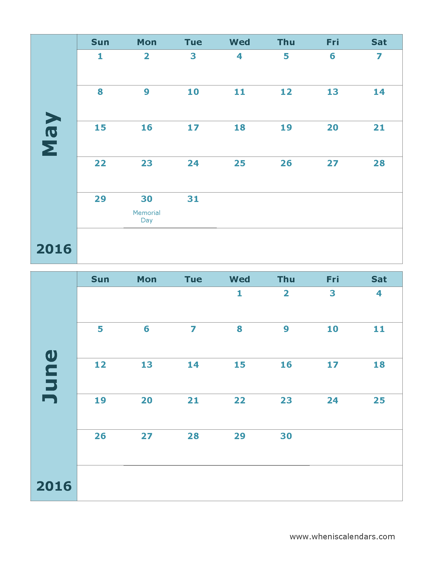 Printable Calendar May And June