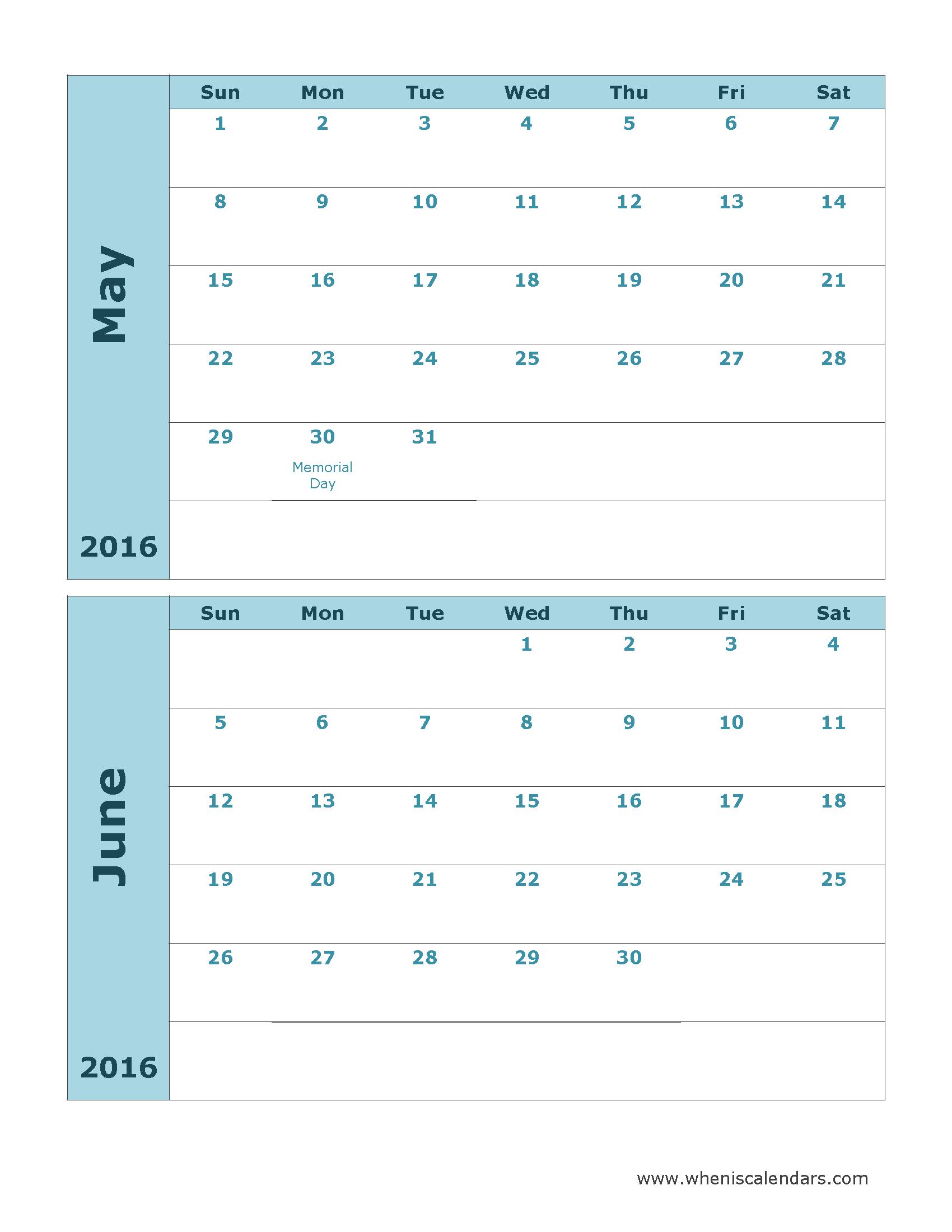 Printable Calendar May And June