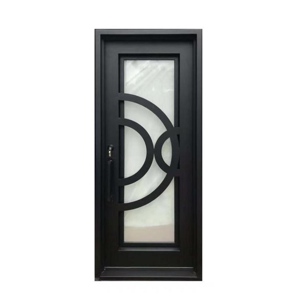 Aleko 40 In X 96 In Matte Black Right Hand Inswing 1 Lite Rain Glass Iron Prehung Front Door Idr4096bk12 Hd The Home Depot In 2020 Rain Glass Front Entry Doors Single Doors