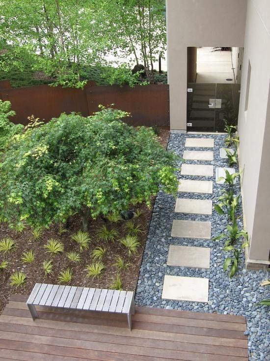 minimalismus garten-landschaft ideen-Steine verlegen-kieswege - vorgarten modern kies