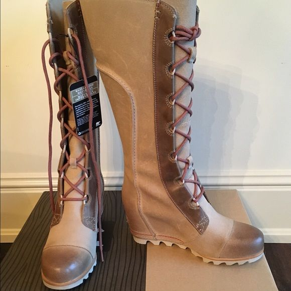 NIB SOREL Cate the Great wedge boots size 7 A beautiful AND functional wedge boot by SOREL! NIB size 7 SOREL Shoes Lace Up Boots
