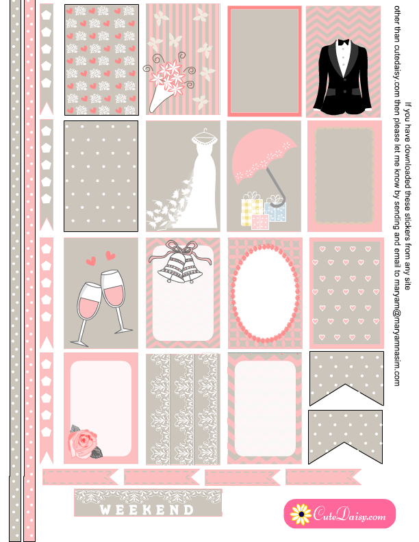 Free Printable Wedding themed Stickers for Happy Planner Free