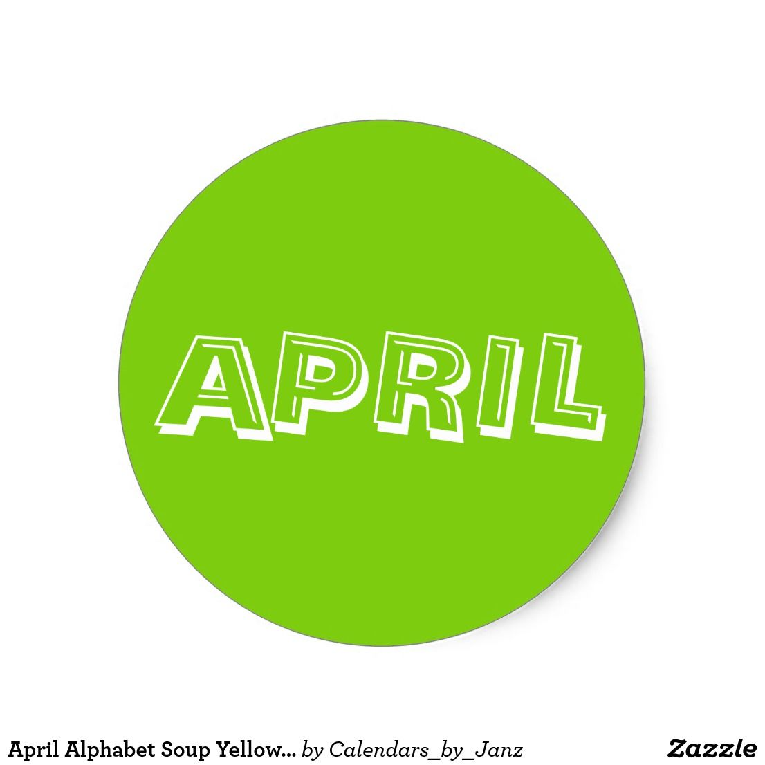 April Alphabet Soup Yellow Green Sticker By Janz
