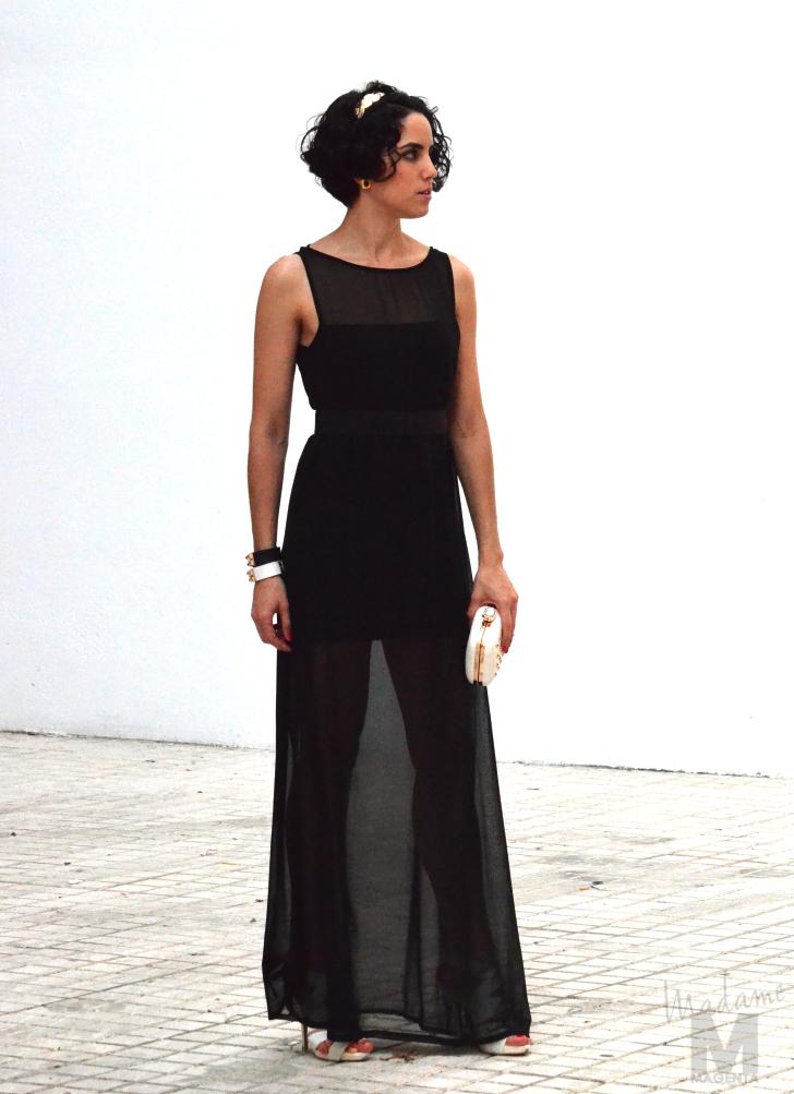 d9fbd03d4 long black dress madame magenta vestido negro largo transparente bolso  tachuelas studded clutch