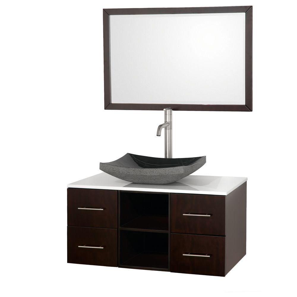 Wyndham Collection Abba 36 in. Vanity in Espresso with Glass Vanity Top in White and Mirror
