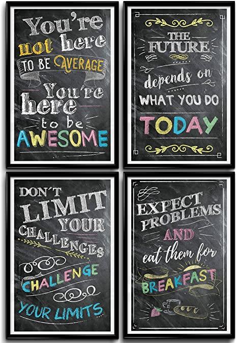 Amazon Com Inspirational Wall Art Motivational Wall Art Classroom Posters Office Wa Inspirational Wall Art Office Wall Decor Classroom Motivational Posters