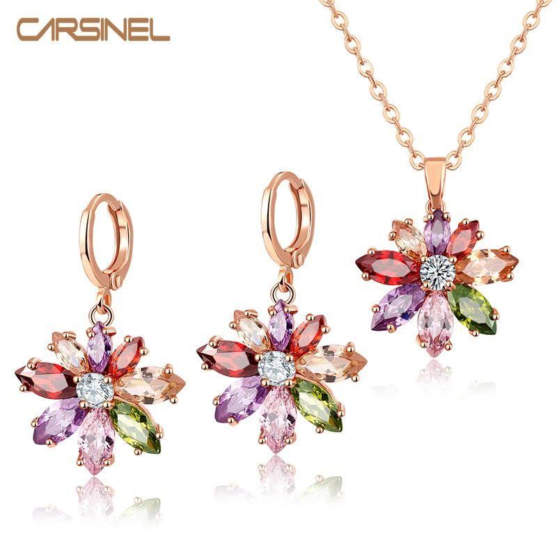 CARSINEL Trendy Jewelry Sets Flower Shape Earrings Rose Goldcolor